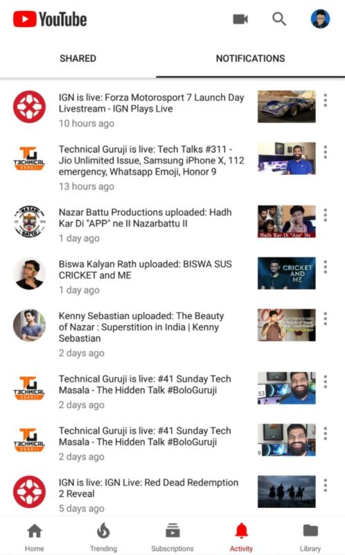 YouTube App Aktivitäten Tab