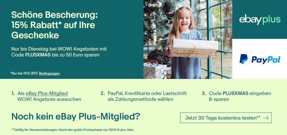 eBay Plus Xmas 2017 Rabatt