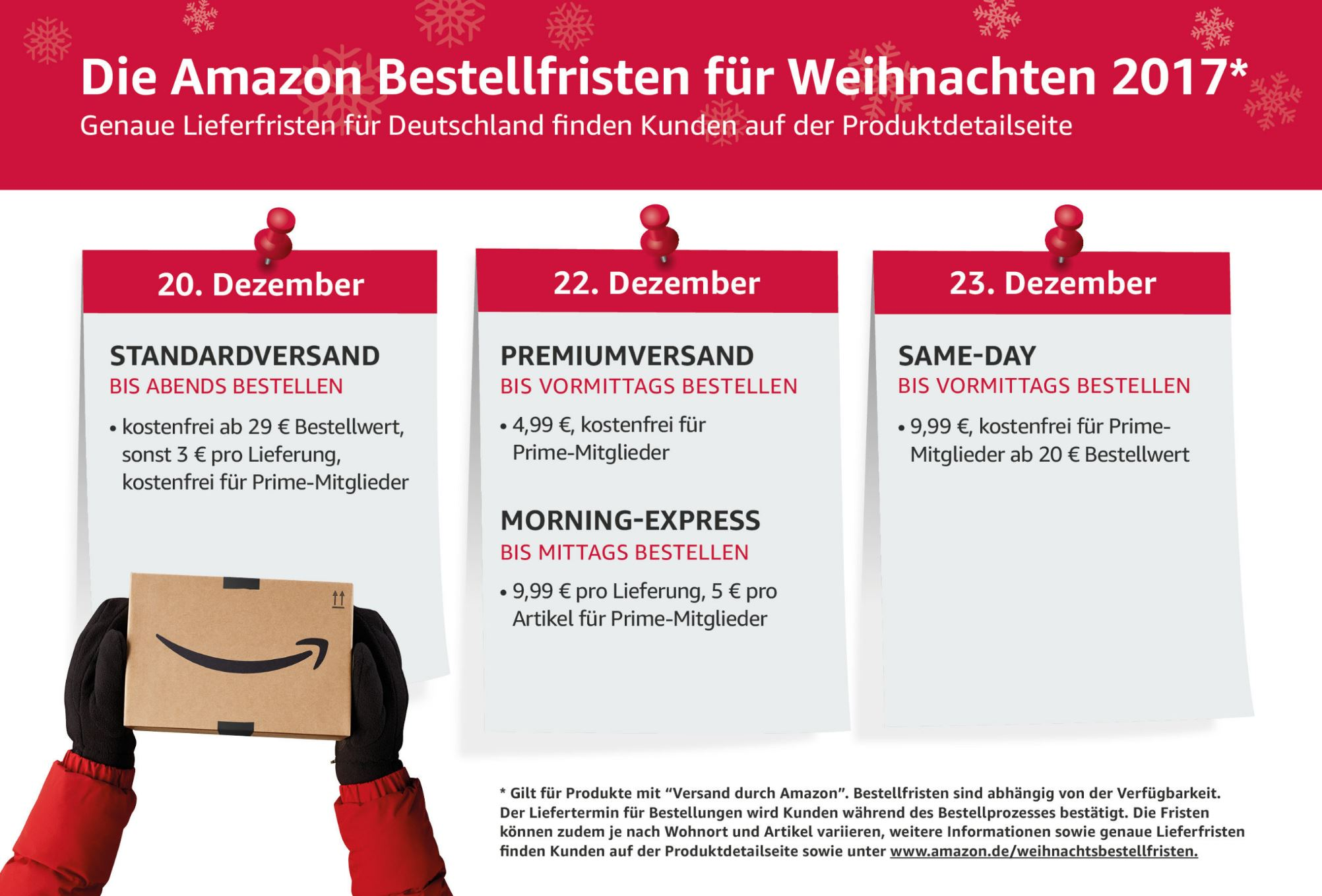 die amazon bestellfristen f r weihnachten 2017. Black Bedroom Furniture Sets. Home Design Ideas