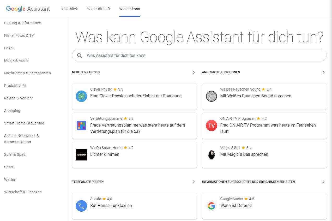 Google Assistant Verzeichnis