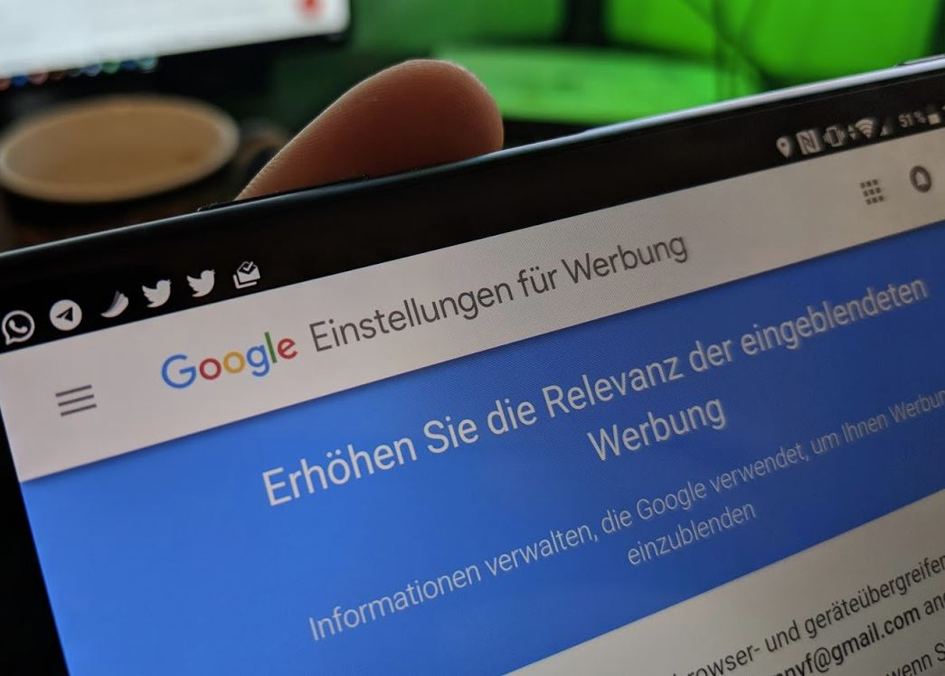 Google Einstellungen für Werbung Header