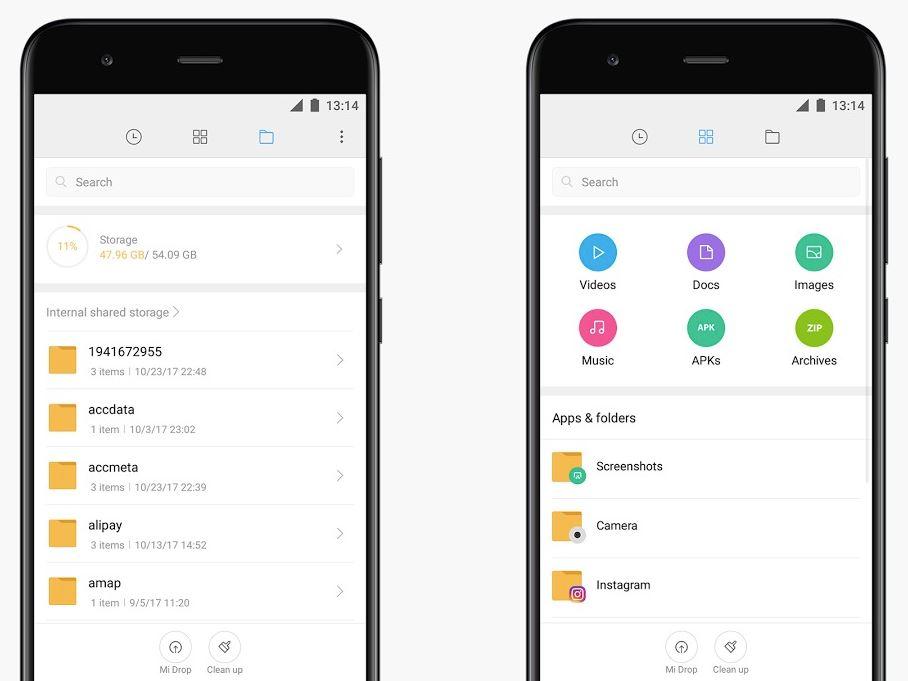 Xiaomi Mi File Manager Dateimanager Header
