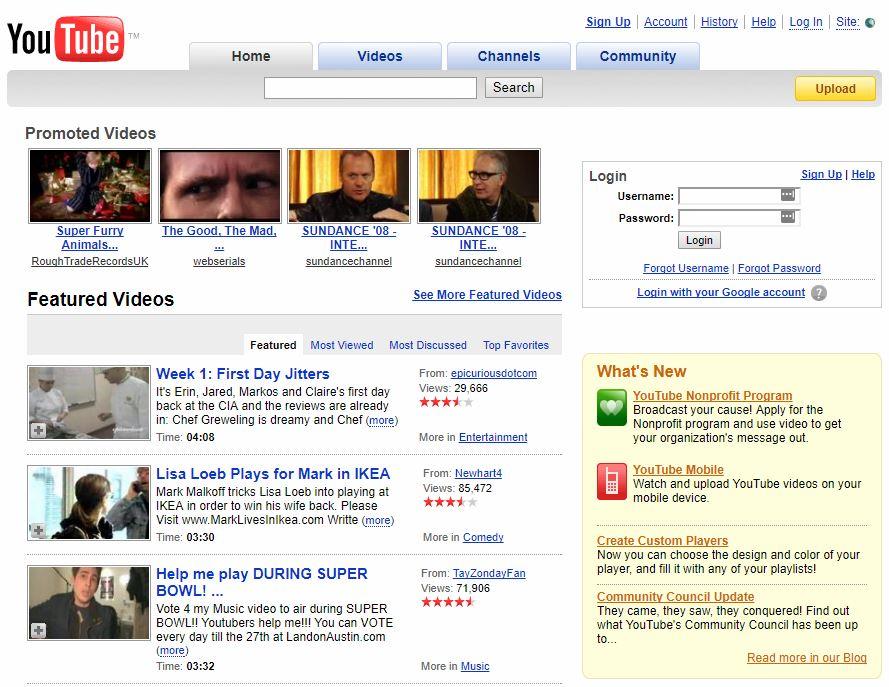 YouTube Ten Years Ago
