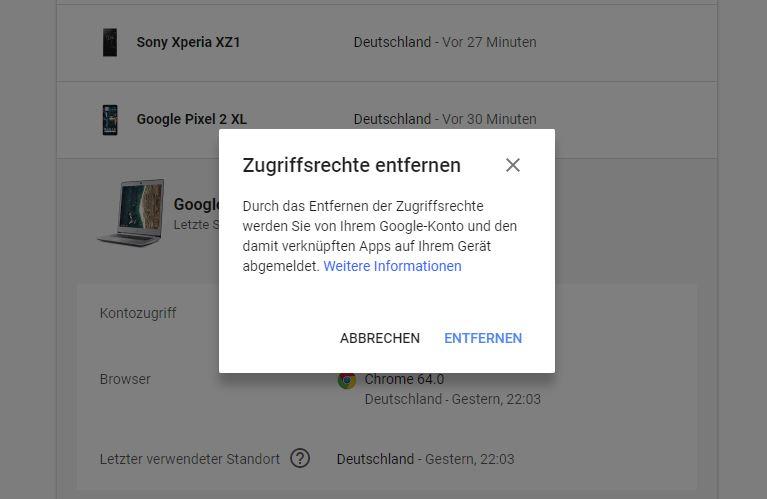 Google Account Gerät entfernen