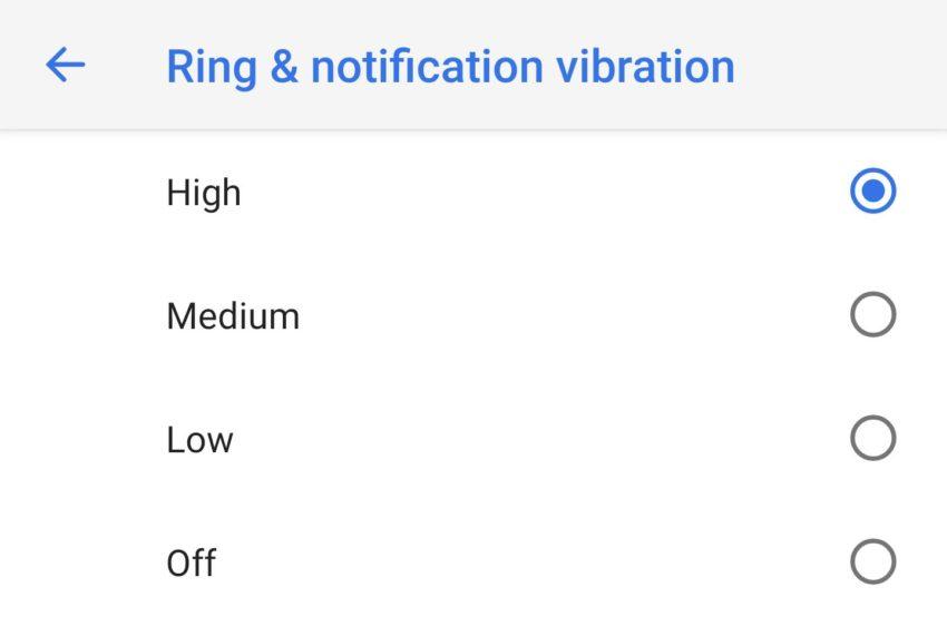 Android P Einstellungen Vibration