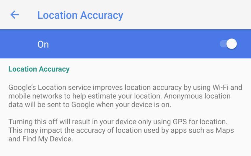 Android P Standorteinstellungen