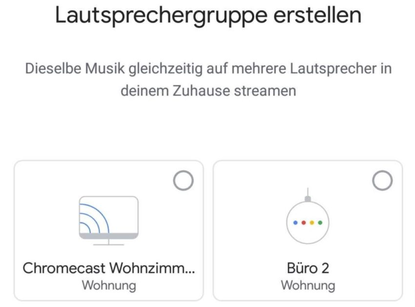 Chromecast lässt sich zu Lautsprechergruppen hinzufügen