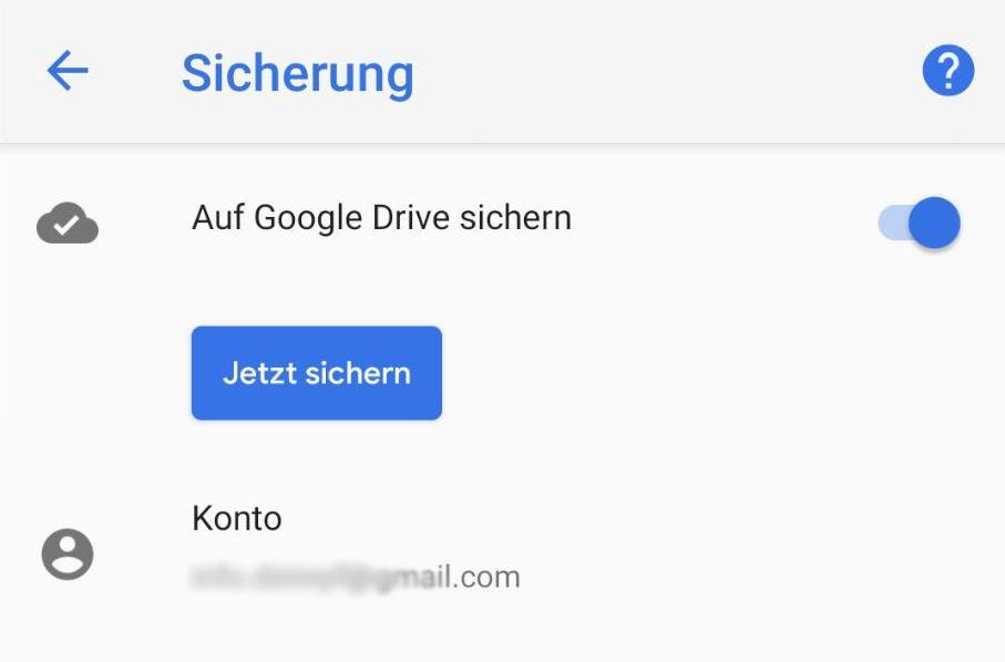Jetzt sichern Taste Android System Sicherung Google Drive