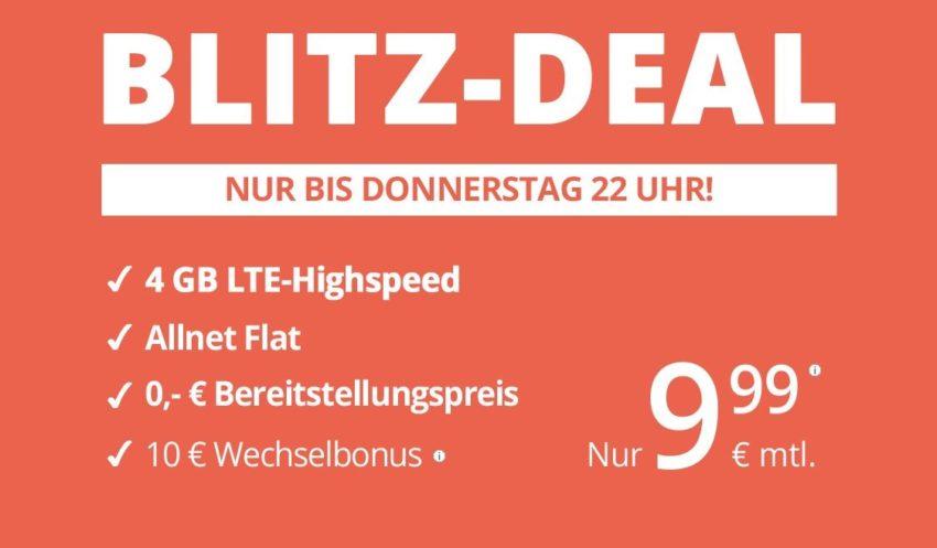 winSIM Blitz-Deal: Allnet-Flat mit 4 GB für nur 9,99 Euro mtl.