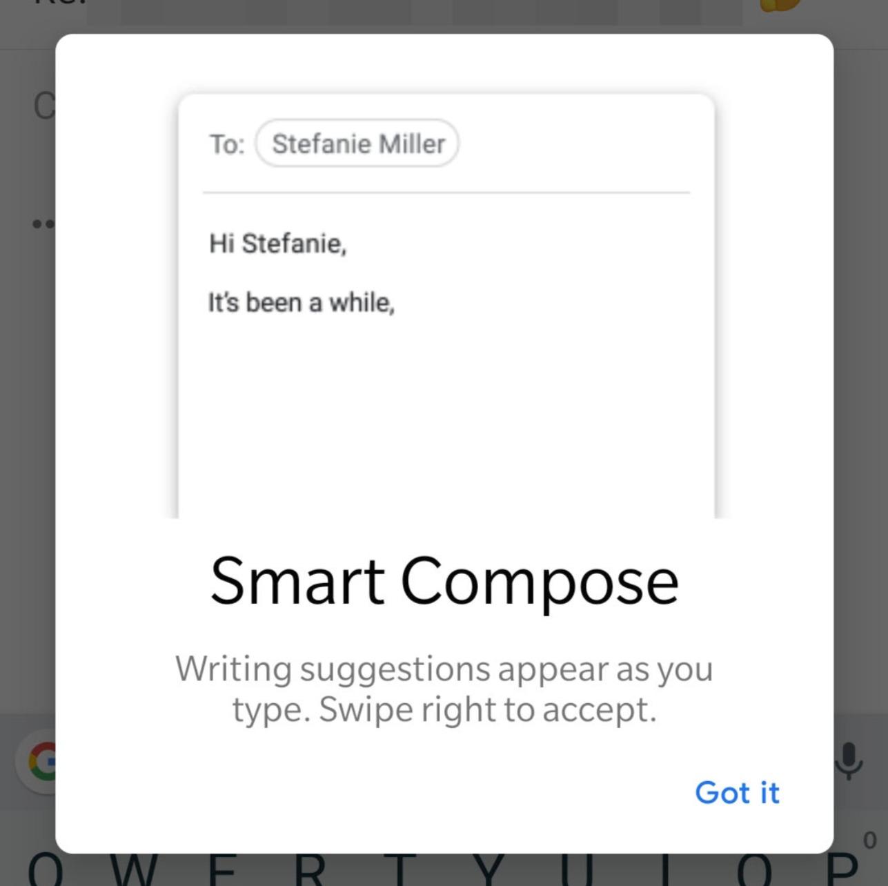 Smart Compose Gmail Header