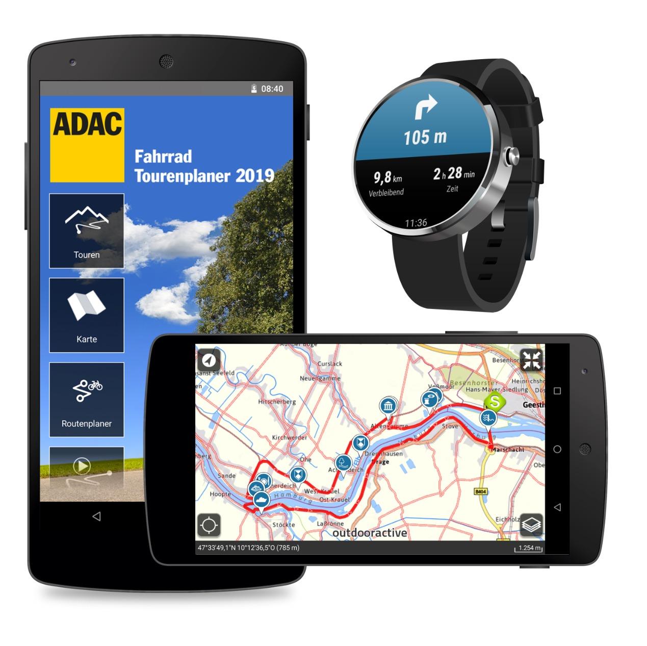 ADAC mit 2019er Android-Apps für Fahrrad- und Wandertouren