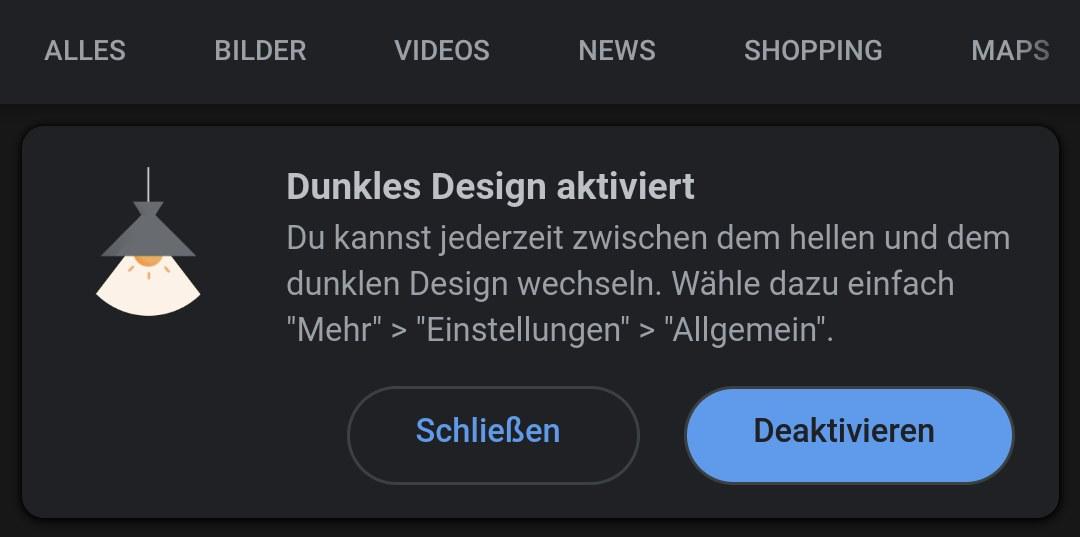 Google App dunkles Design