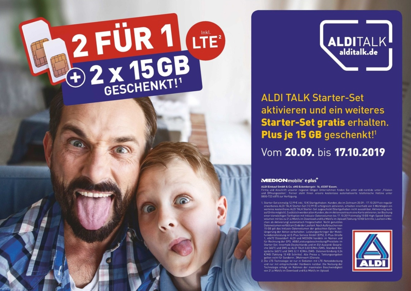 Aldi Talk 2 für 1 Aktion September 2019