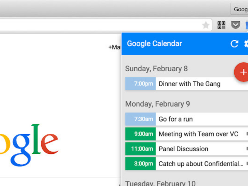 Google Kalender Chrome Plugin Screenshot